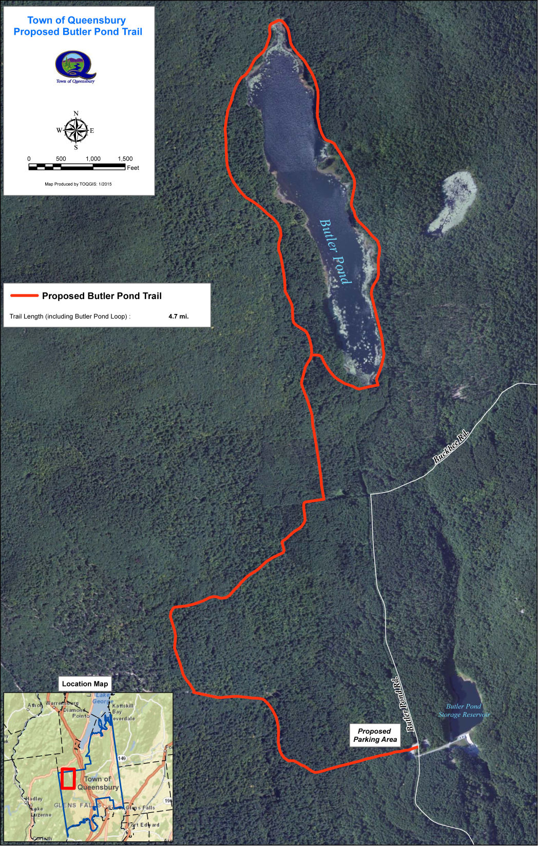 Butler Pond trail map