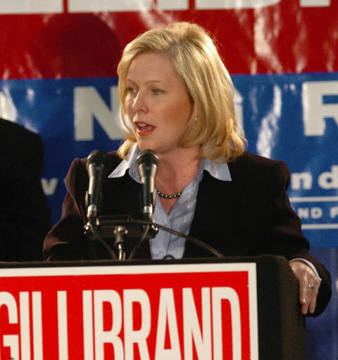 Gillibrand campaigns at Warren County airport