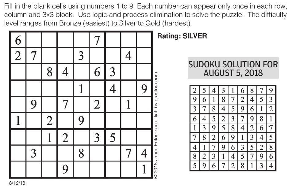 sudoku | Puzzles & Comics | poststar com