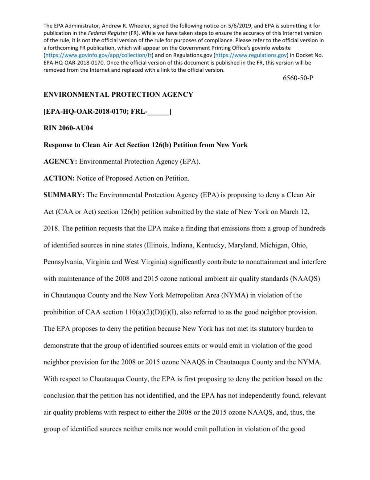 Notice of EPA's proposal to deny New York's air petition