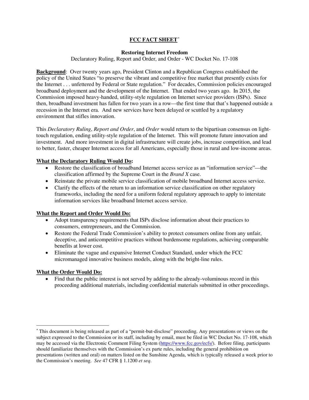 Net Neutrality proposal
