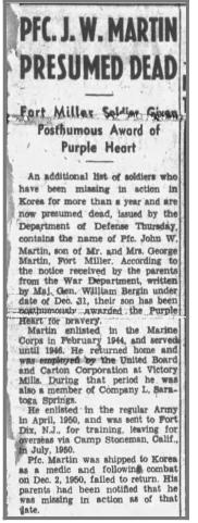 Newspaper clipping J.W. Martin