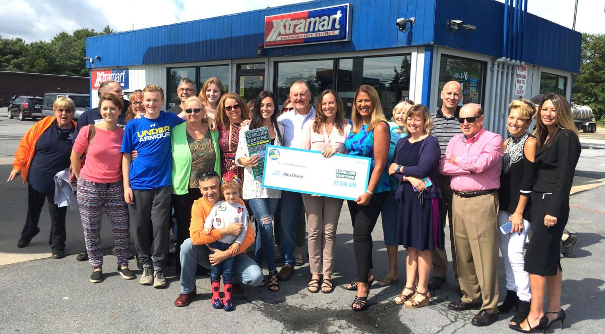 Lottery winner celebrates with friends and family
