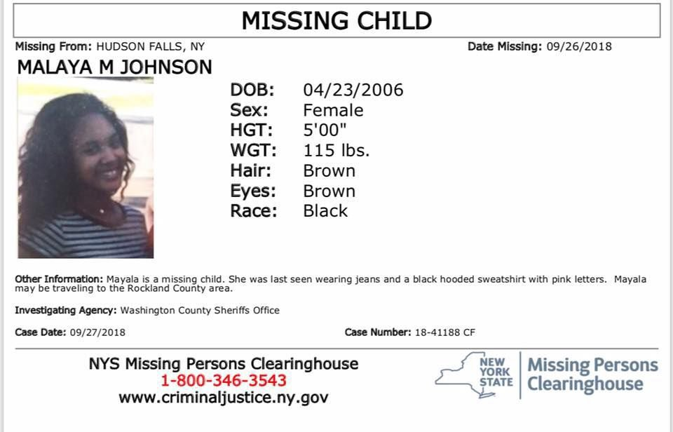 Malaya Johnson missing poster