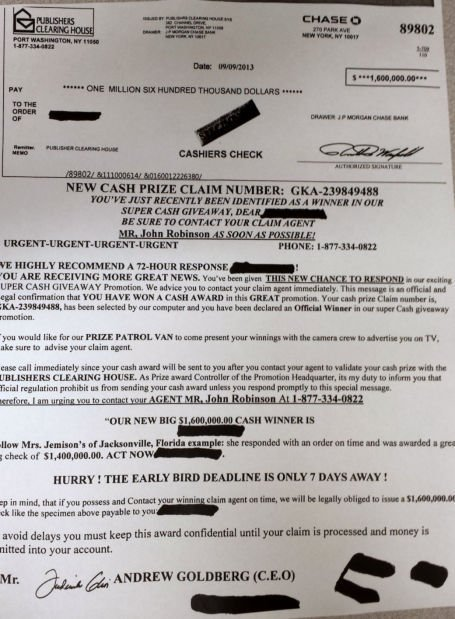 Police Warn About Publishers Clearing House Mail Scam