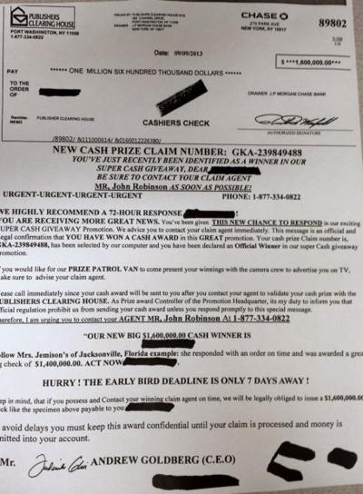 Police warn about Publishers Clearing House mail scam | Local