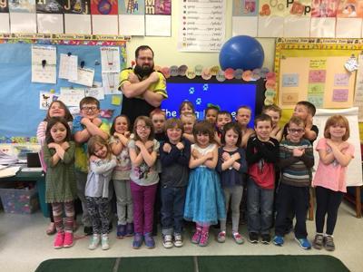 Todd Humiston and Hudson Falls kindergartners