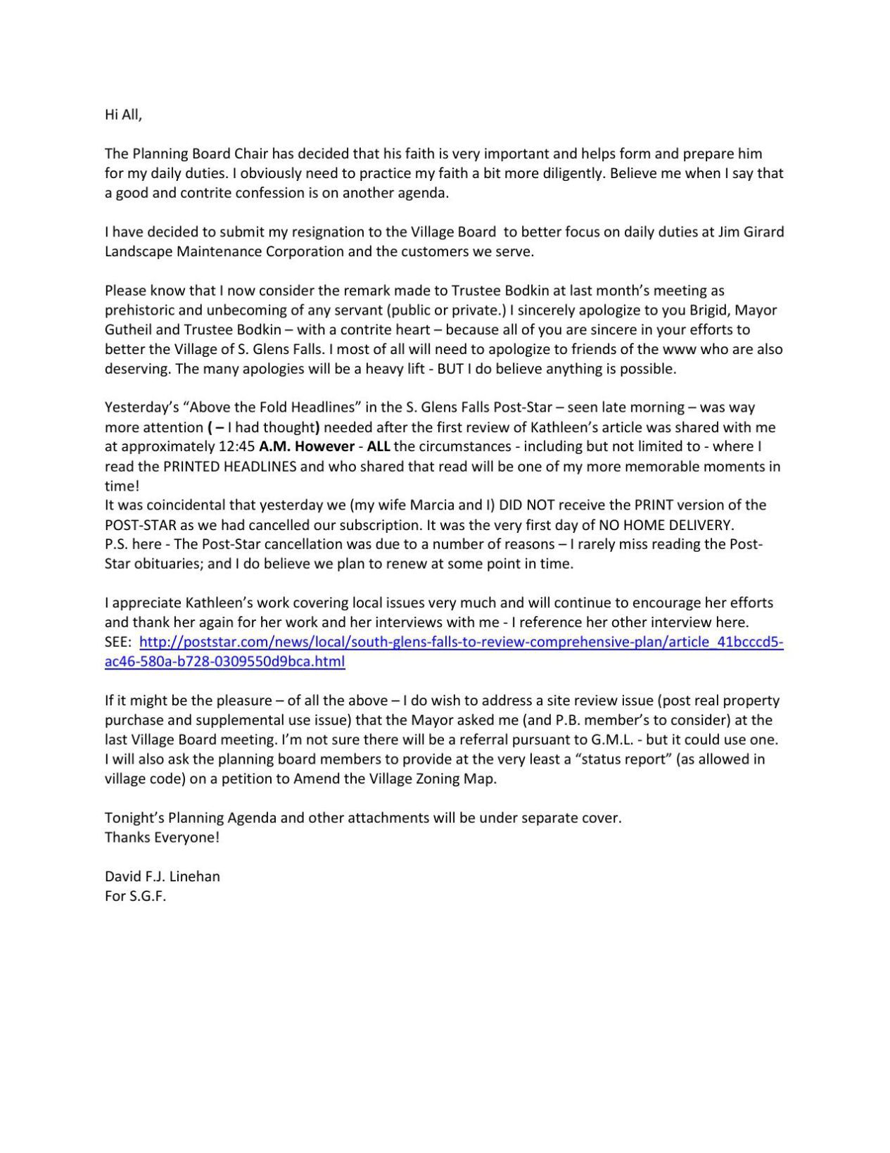 Download PDF Planning Board Resignation Letter  Board Resignation Letter