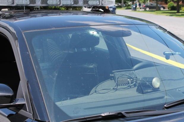 Granville police cruiser shot