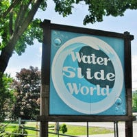 Water slide world sign