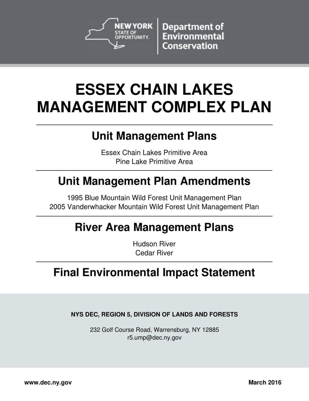 Essex Chain Lakes Management Complex Plan