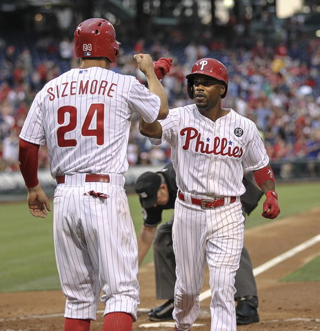 Rollins homers twice as Phillies beat Nats for fifth-straight win