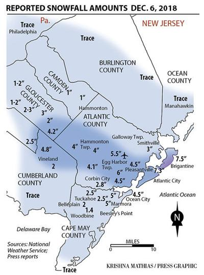 New Jersey snowfall totals map 12-7-2018