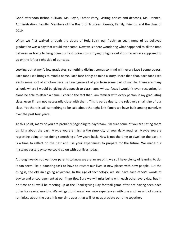 Holy Spirit High School 2019 valedictorian speech