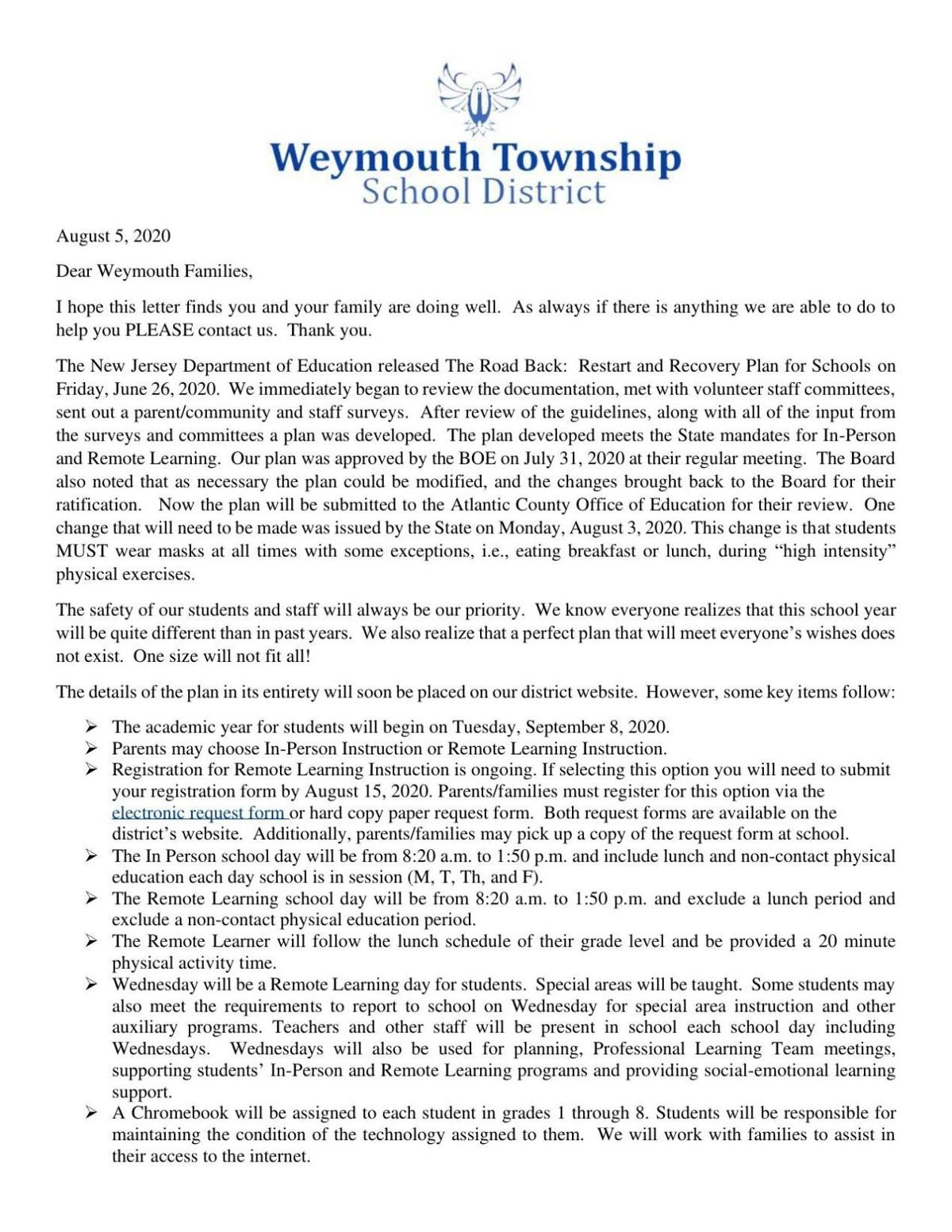 Weymouth Township reopening letter