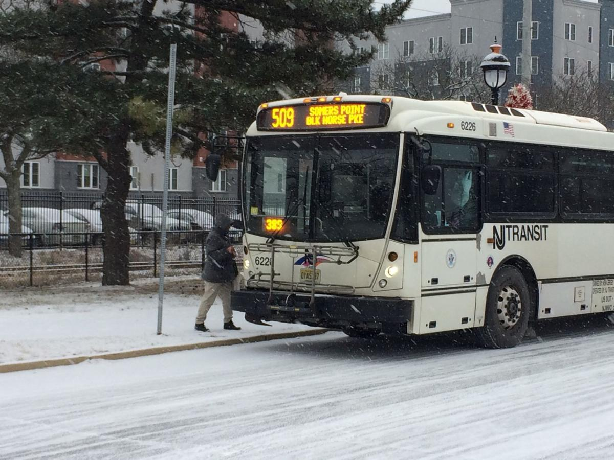 New Jersey Transit bus in Pleasantville in snow