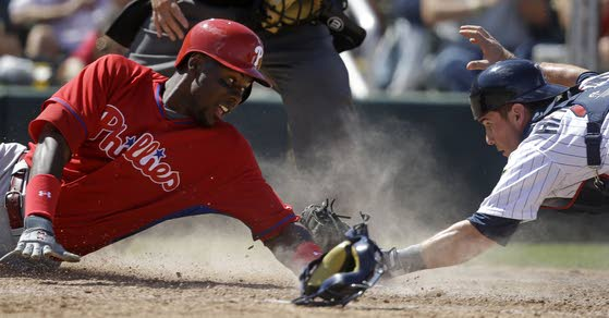 Phillies get two hits in tie with Twins