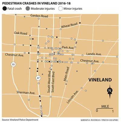 Vineland map pedestrian accident 5-2019