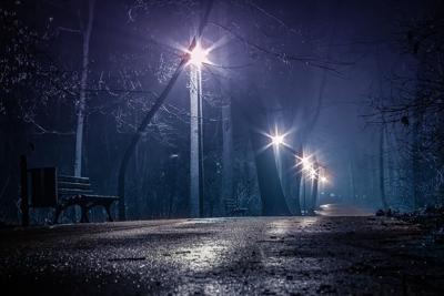 Winter rain night