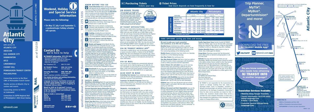Atlantic City Rail Line Schedule