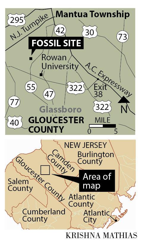 Dinosaur fossil site Rowan Gloucester County map 2015.jpg