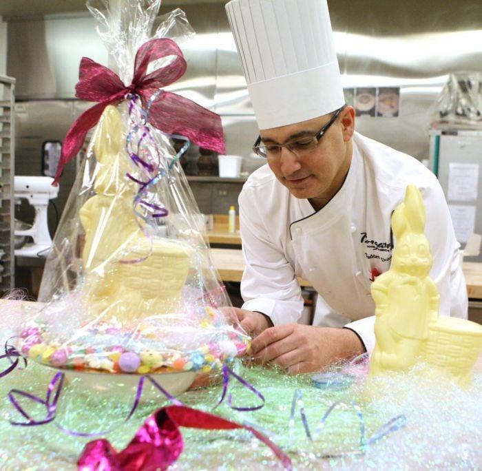Chef Thaddeus Dubois preparing white chocolate bunnies at Borgata