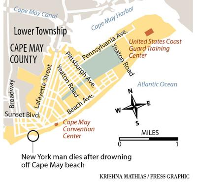 New York man dies drowning off Cape May beach map