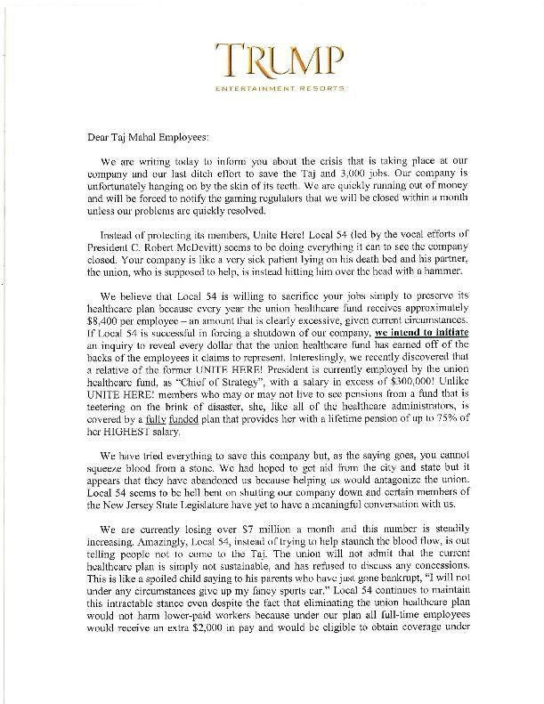 Letter from Trump CEO to Taj employees