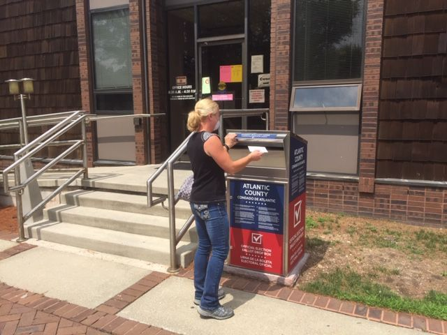 Drop box for ballots in Egg Harbor Township