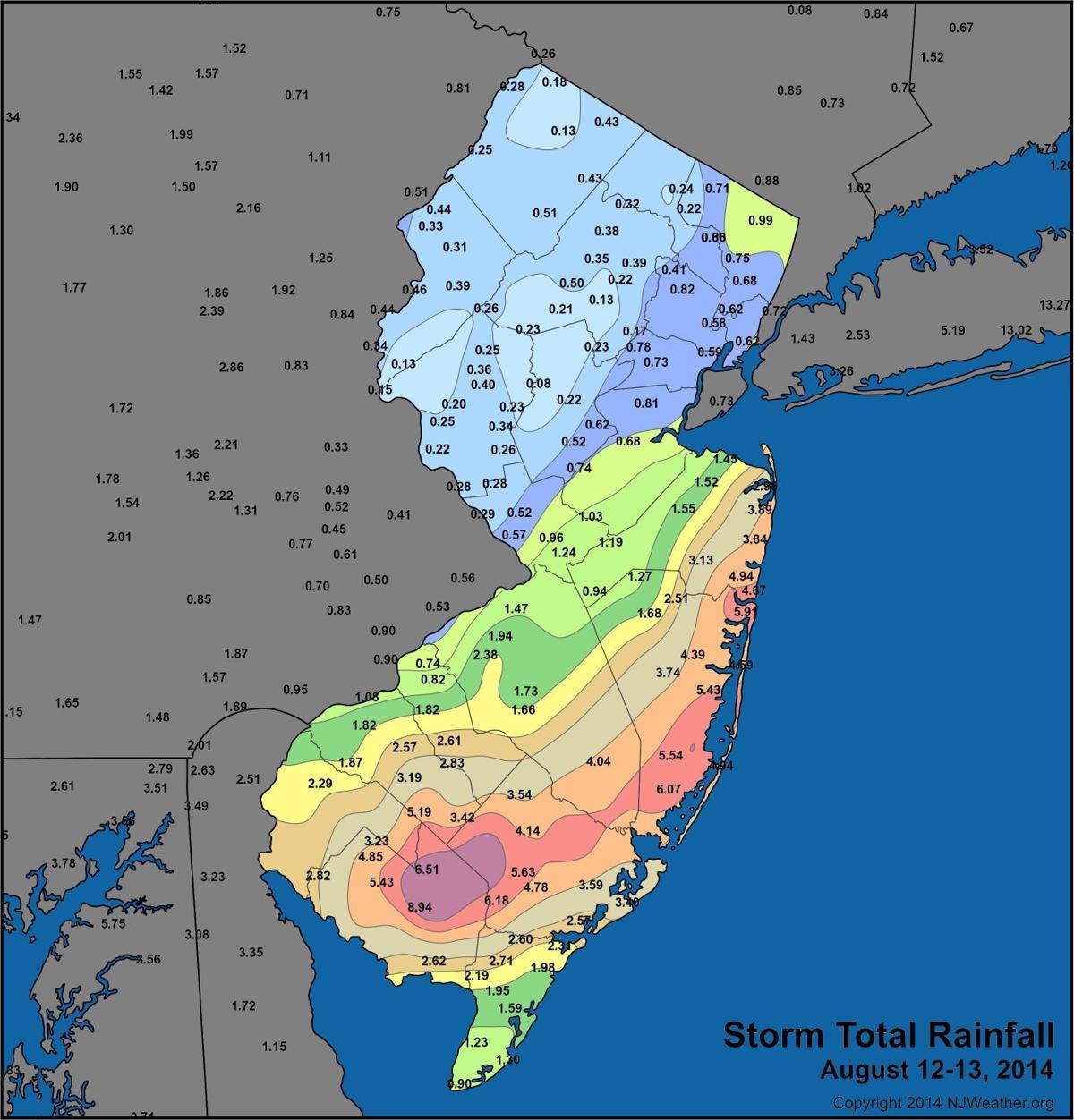 Map of rainfall amounts