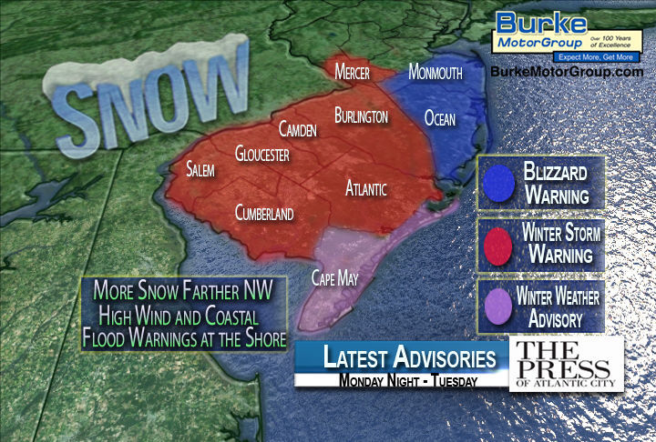 Latest warnings for the Monday night and Tuesday nor'easter