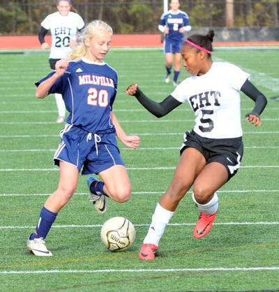 8827a2177 Lexi Magruder s late goal gives Egg Harbor Township s girls soccer team its  first playoff win. Millville s Mallory Chamberlain ...