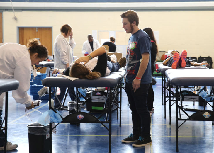 SCHOOL BLOOD DRIVEstudents participating in blood drive at Oakcrest High School