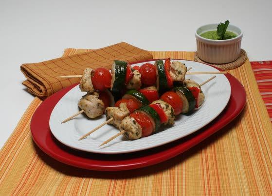 Minty chicken kebabs a summer treat