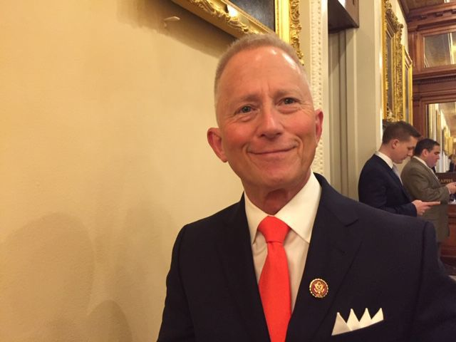 Congressman Jeff Van Drew with lapel pin