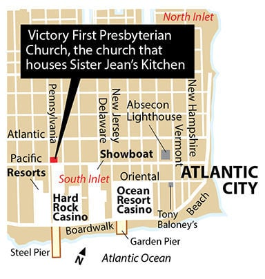 Victory First Presbyterian Church, Sister Jean's Kitchen Atlantic City map