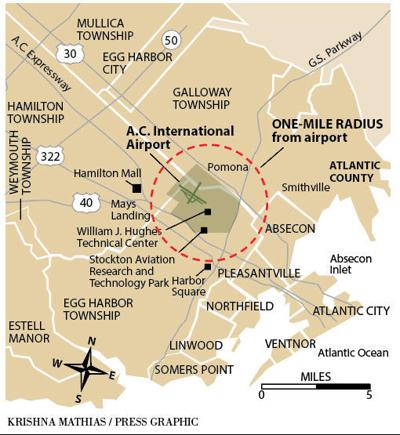 One mile radius Atlantic City Airport map