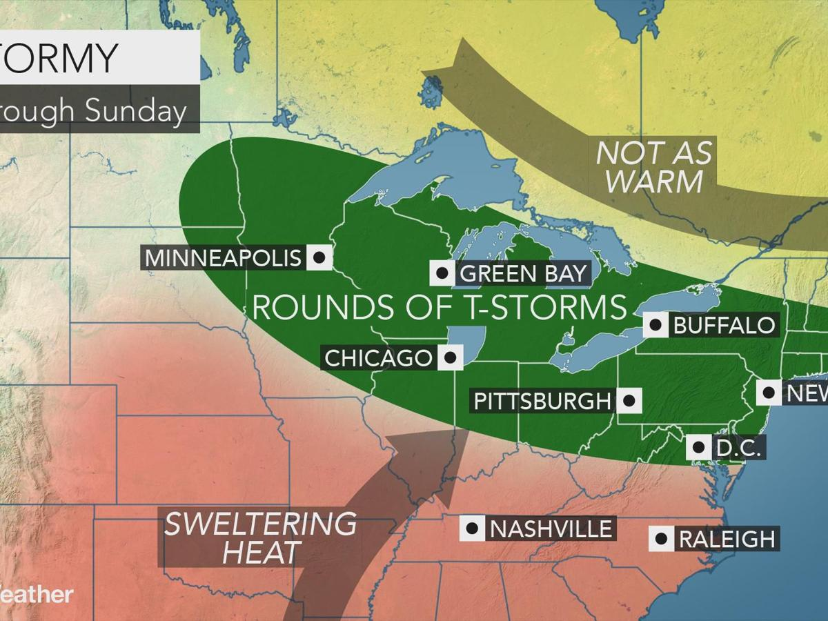 A sticky weekend with scattered thunderstorms, but when?