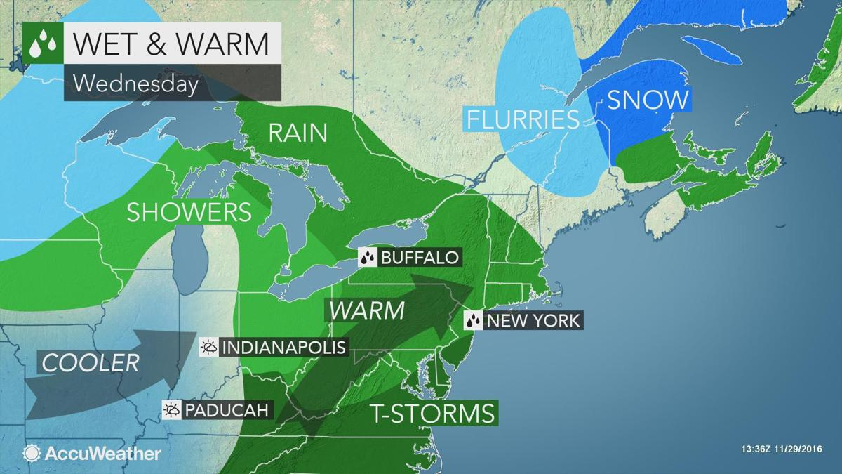 Warm, wet, and windy again on Wednesday