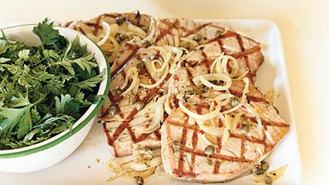 Caper Rosemary Tuna with Herb Salad