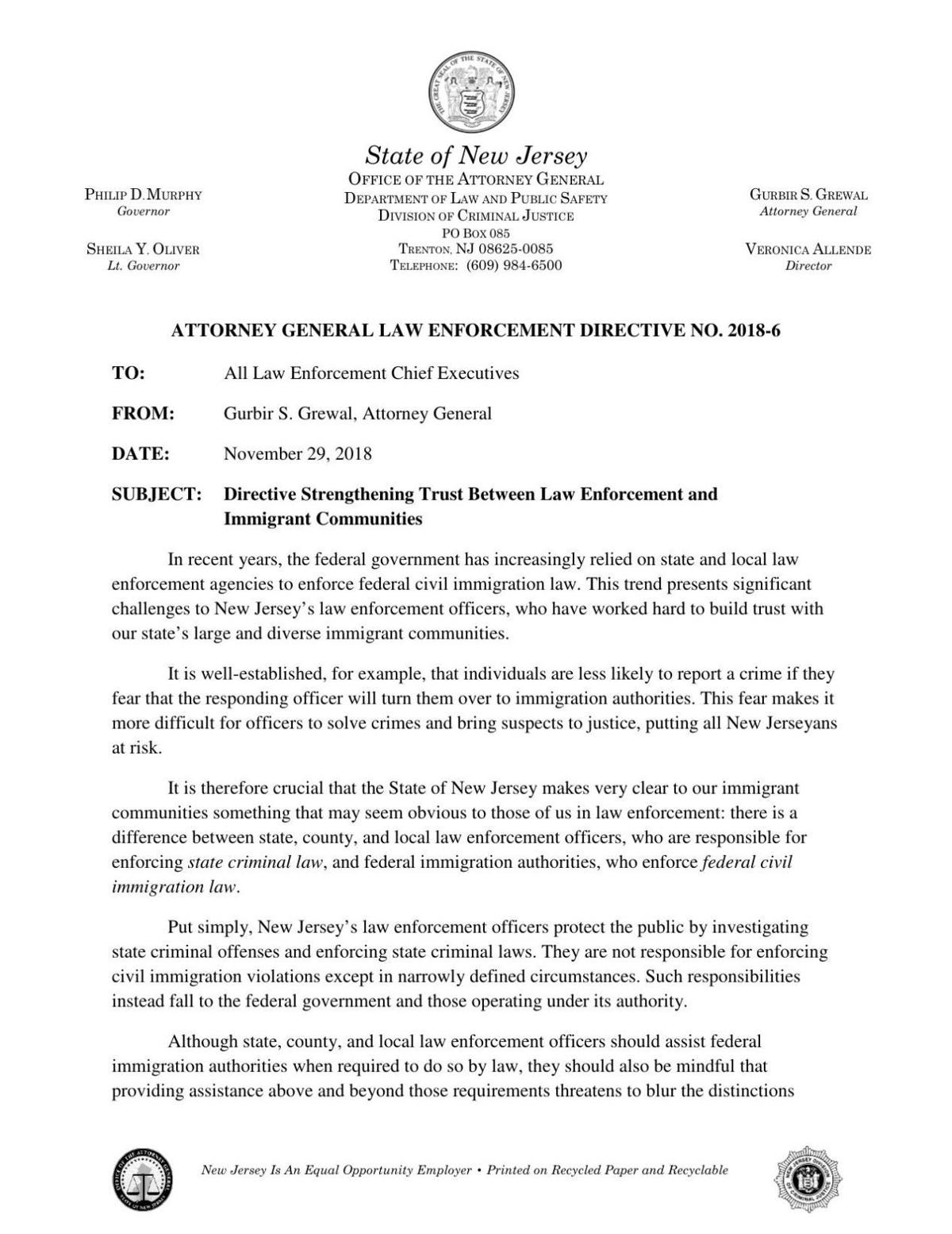 Attorney General guidelines on ICE