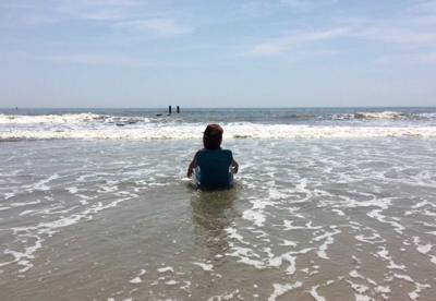 Jill Hughes on beach