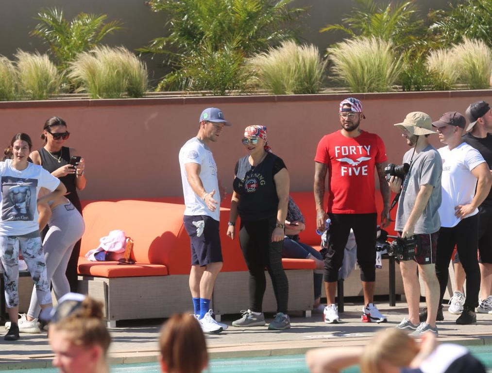 Actor Mark Wahlberg helps to lead a F45 track workout at Ocean Casino Resort in Atlantic City as part of the casino's one-year anniversary Saturday, June 22, 2019.
