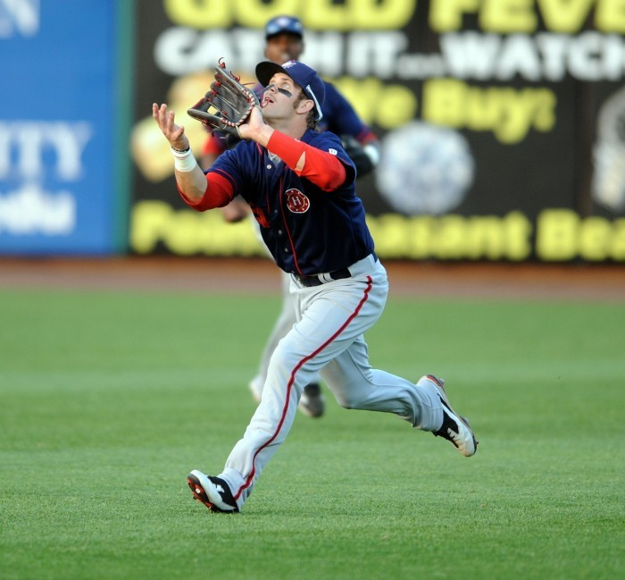 Bryce Harper makes catch in Lakewood on May 13, 2011