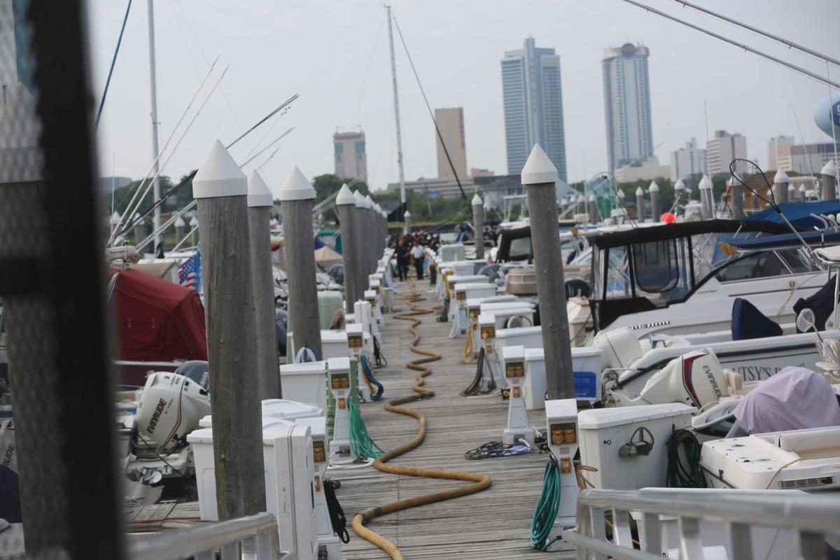 Fire hoses on the dock