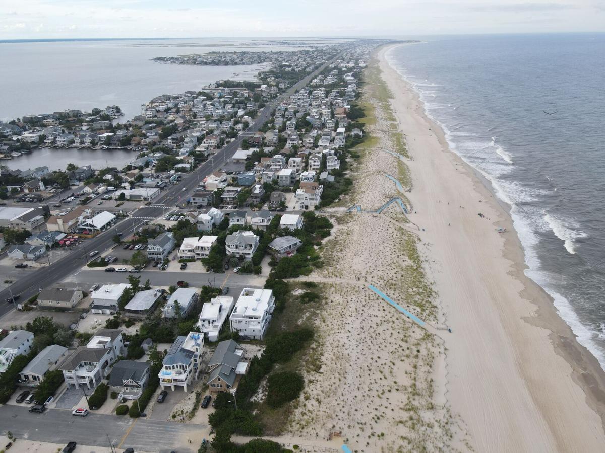 Harvey Cedars Aerial Footage Beach Summer Mostly Cloudy