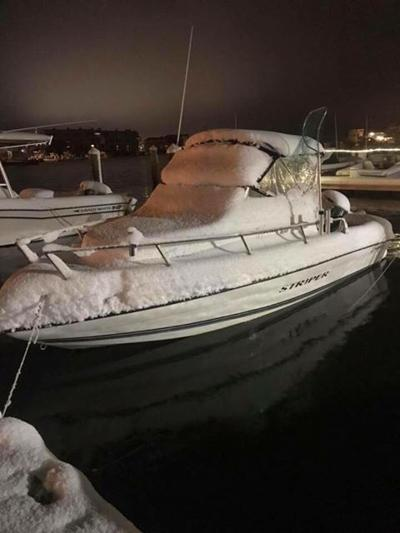 Boat Snow Night