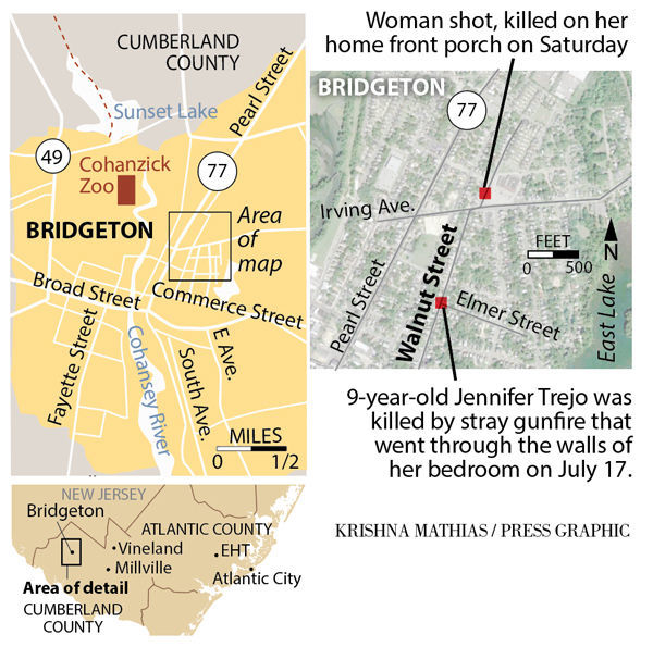 Bridgeton shootings map July- August 2018