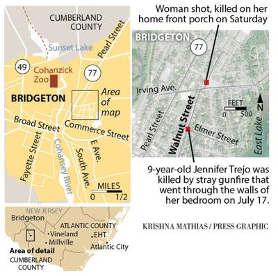 Bridgeton shootings map July- August 2018