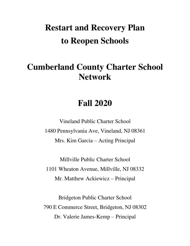 Vineland Public Charter School reopening plan